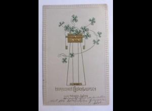 Neujahr, Biedermeier, Kleeblatt, 1906, Prägekarte ♥ (41951)