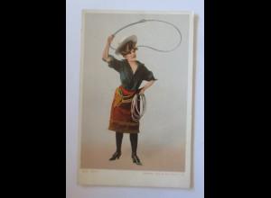 Künstlerkarte, Frauen, Mode, Cowgirl mit Lasso, 1900 ♥ (47133)