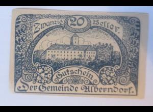 Notgeld, 20 Heller Österreich Der Gemeinde Alberndorf 1920 ♥ (11219)
