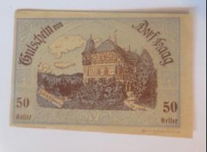 Notgeld, 50 Heller Österreich Dorf Haag 1920 ♥ (3605)