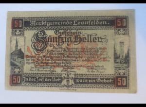 Notgeld, 50 Heller Österreich Marktgemeinde Leonfelden 1920 ♥ (10184)