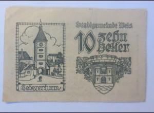 Notgeld, 10 Heller Österreich Gemeinde Welz 1920 ♥ (31082)