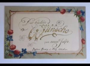 Neujahr, Blumen, 1901, Prägekarte ♥ (41933)