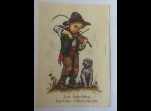Geburtstag, Kinder, Violine, Hund, 1963, Hilde ♥ (71589)