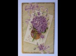 Neujahr, Blumen, Veilchen, 1909, Prägekarte ♥ (44149)