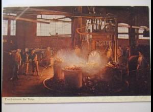 Berufe, Stahlwerk, Einschweissen der Nabe, 1905 aus Essen
