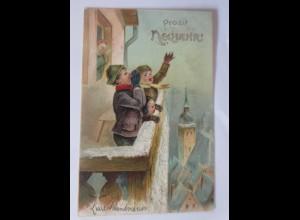 Neujahr, Kinder, Balkon, Rufen, 1904, Prägekarte ♥ (65732)