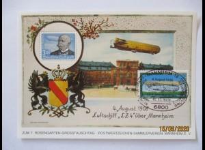 Zeppelin Luftschiff LZ 4 über Mannheim, Vignettenblock 1978 (71549)