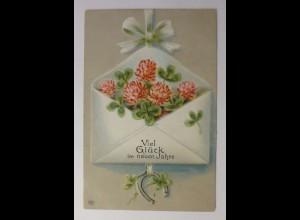 Neujahr, Brief, Kleeblatt, 1912, Prägekarte ♥ (44063)