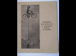 Fahrrad, Zirkus-Akrobatik, Hochseil-Akt, Druck 9 mal 13 cm