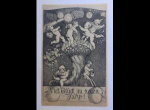Neujahr, Engel, Elfen, Sternfüllhorn, 1913, Kunstwart-Bildkarte ♥ (41941)