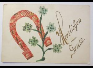 Briefmarkensprache, Herzliche Gruß, 1907 ♥ (24501)