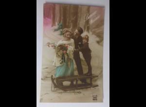 Neujahr, Frauen, Männer, Kinder, Schlitten, 1930 ♥ (41815)