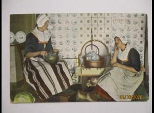 Niederlande Trachten Kacheln, Am Herd, In der Küche, Volendam 1908 (74050)