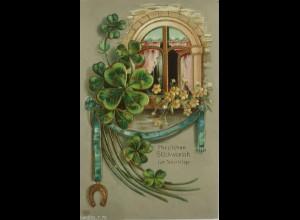 Geburtstag, Kleeblatt, Fenster, Hufeisen, 1905, Goldprägekarte ♥ (11035)