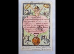 Amor, Engel. Urkunde, Heiraten zu wollen mit Siegel, 1901 ♥ (23458)