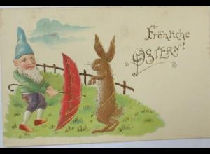 Ostern, Zwerg, Schirm, Hase, 1902, Golddruck ♥ (7721)