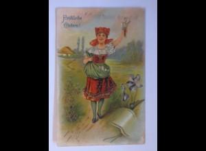 """Ostern, Kinder, Mode, Schürze, Eier, Weidenkätzchen"" 1909, Prägekarte ♥ (63037)"