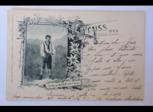 Künstlerkarte, Gruß aus, Männer, Trachten, Edelweiß, 1898 ♥ (74227)