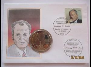 Politik SPD Willy Brandt Numisbrief 1993 (42864)