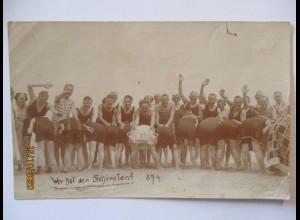 Meer Baden Bademode, Wer hat den schönsten ? Fotokarte ca. 1910 (63070)