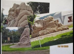 Sandburgen Sand-Kunst, 3 Postkartengroße Fotos (27965)