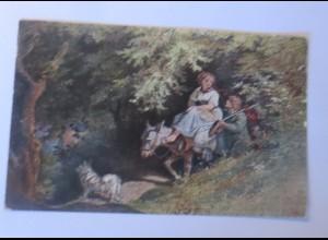 Künstlerkarte, Esel, Ritt durch den Wald, 1907, L. Richter ♥ (74606)