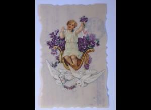 """""""Oblate auf Ansichtskarte, Engel, Tauben"""" 1916 ♥ (56794)"""
