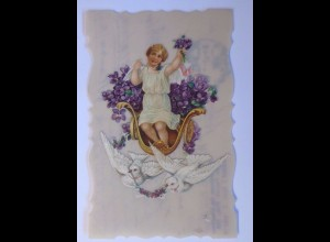 Kunststoffkarte, Oblate auf Ansichtskarte, Engel,Tauben, 1916 ♥ (56794)