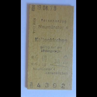 Fahrkarte Neumünster-Kaltenkirchen 1978 Jahre ♥ (635)