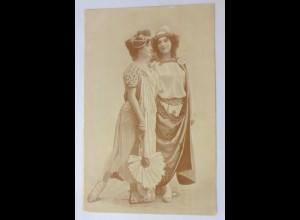 Fotokarte, Jugendstil, Frauen, Mode, Haarschmuck, Fächer, 1900 ♥ (74784)