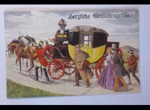 """""""Neujahr, Kutsche, Eilpost mit Bergvorgespann"""" 1910 ♥"""