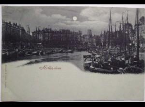 Niederlande, Rotterdam, Mondschein, 1890/1900