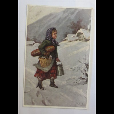 Kinder, Mode, Gaben, Brot, Milch, Winterlandschaft, 1903, Müller L. ♥ (52964)