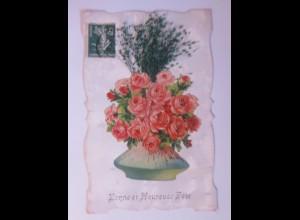"""Oblate auf Ansichtskarte, Rosen, Vase"" 1912 ♥ (56796)"