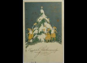 Zwerge, Weihnachtsbaum, Kerzen, 1914 ♥ (5178)