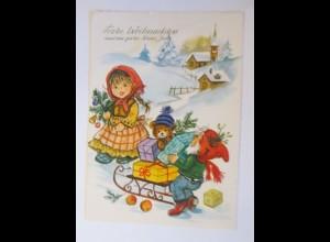 Weihnachten, Zwerge, Kinder, Mode, Schlitten, Spielzeug, Teddy, 1986 ♥ (51814)