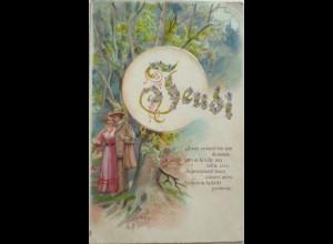 """""""Frankreich, Jeudi, Donnerstag, Wochentage"""" 1906, Prägekarte ♥ (2833)"""