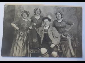 Künstlerkarte, Frauen, Männer, Trachten, Zitter, 1914 ♥ (14855)