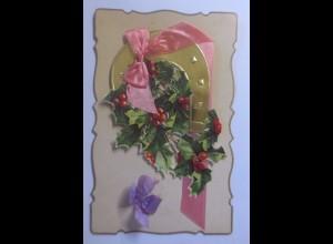 Oblate auf Ansichtskarte, Neujahr, Disteln, Hufeisen, 1906 ♥ (56806)