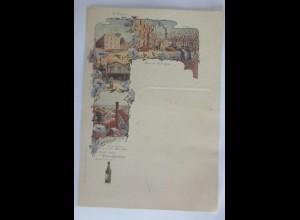 Menükarte, Menu, Reklame, Jugendstil, Perres Chartreux Likör, 1900 ♥ (X1)