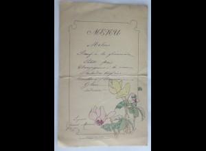 Menükarte, Menu, Frankreich, Aquarell, Jugendstil, 1900 ♥ (X1)