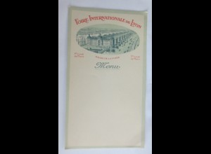 Menükarte, Foire Internationale de Lyon, Palais de la Foire Frankreich1920♥(X1)