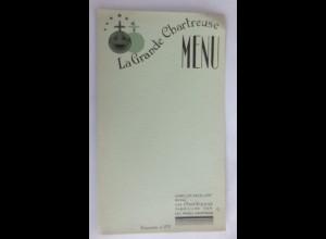 Menükarte, Menu, Reklame Verte La Grande Chartreuse Likör, 1930 ♥ (X1)