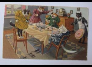 Verlag Max Künzli, Personifiziert, Katzen, Maus, Torte, 1948 ♥