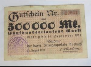 Gutschein Bayern Unsbach 500000 Mark 1923 12841 ♥ (16G)