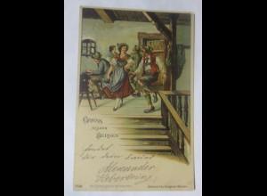Trachten, Frauen, Männer, Mode, Gruß aus den Bergen, 1898♥ (32098)