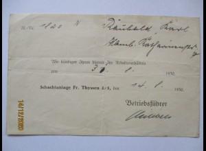 Duisburg Zeche Friedrich Thyssen Schacht 2/5 Kündigung von 1930 (10424)