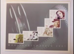 Wohlfahrtsmarke 2001 Schauspieler Marilyn Monroe, Jean Gabin, Greta Garbo ♥