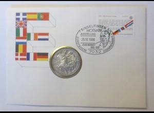 Sindelfingen Motiva 1988 Ausstellung Europa Zoll 10 DM Silber Münze ♥ (57471)